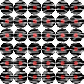 Woven Black Circles Red Dot