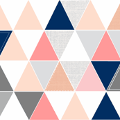 Custom Coral/Navy Sketch Triangle Quilt