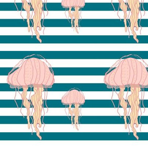 Blue Bold Stripes Jellyfish