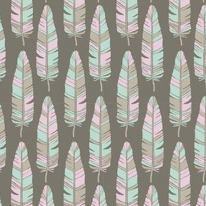 TRIBAL BABY FEATHERS ON TAUPE