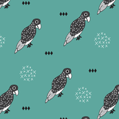 Funky birds scandinavian style illustration animal print with geometric details in black white and blue