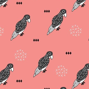 Funky birds scandinavian style illustration animal print with geometric details in black white and coral