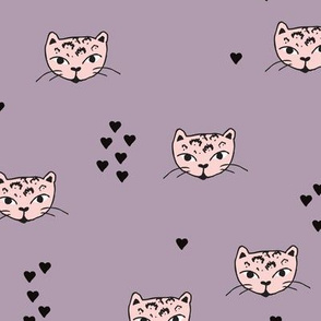 Adorable girls tiger kitten fun panther style cat illustration and geometric details in pastel pink and lilac