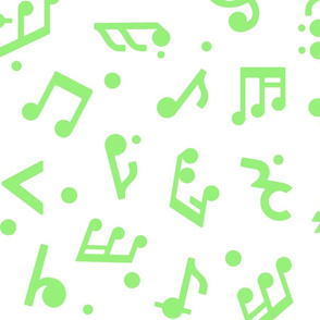Music Notes in Green large scale