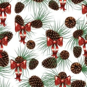 Pinecones and bows