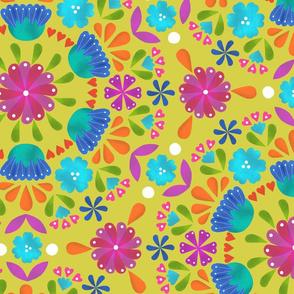 Folk Floral - Lemon - Large Scale