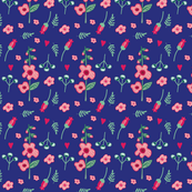 Ditsy Pink Blooms on Navy