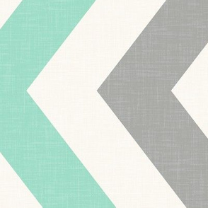 Bold Chevron in Mint and Cashmere Linen / Railroaded