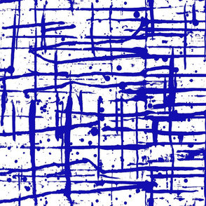 Ink Splatter II. Blue and White