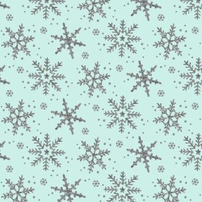 Snowflake Shimmer in Mint, half scale