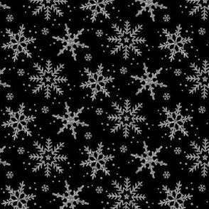 Snowflake Shimmer in Black, half scale