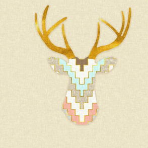 Large Scale Telluride Deer in Aqua and Coral