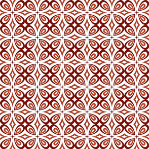 Floral Geometric in Red, White and Salmon
