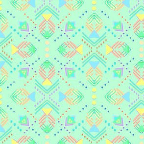 Soft bright geometric shapes and dots on mint