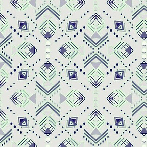 Navy, Mint and Grey Geometric shapes and dots