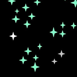 Stars multi in grey and mint on black