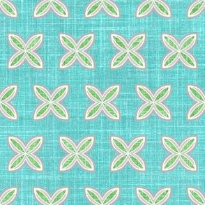 Faux linen Cuatro in aqua motif