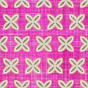 Faux linen motif in berry pink