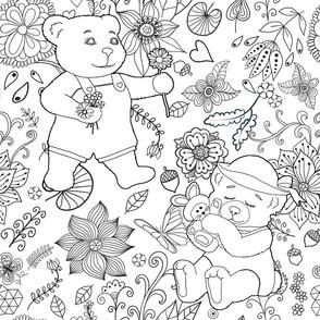 Color Me Springtime Teddy Flora - Day 1l