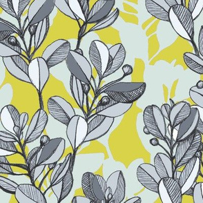 Leaf and Berry Sketch Pattern in Mustard and Ash