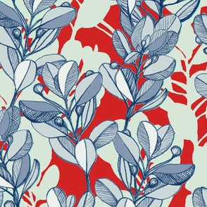 leaf and berry sketch pattern in red and blue
