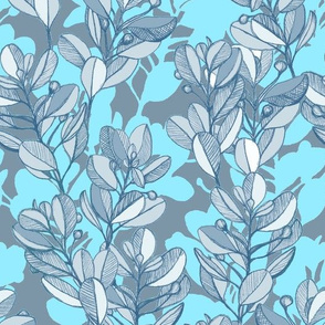 leaf and berry sketch pattern in turquoise blue and grey
