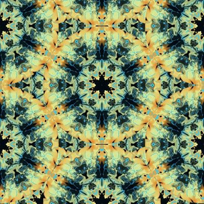 Marbleized Kaleidoscope Star, Gold and Blue