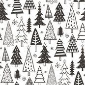 Christmas Forest Trees Black White