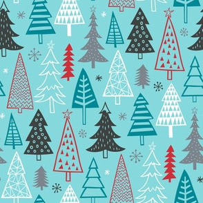 Christmas Forest Trees on Blue