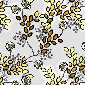 Floral Glints of gray and gold