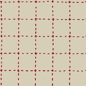 stitched grid in tan and red