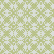 Mottled Green Geometric on White