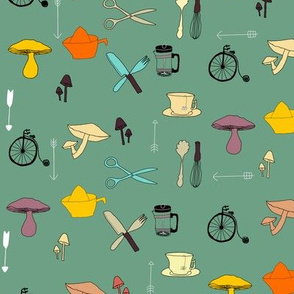 Mushrooms, kitchen utensils & vintage bikes