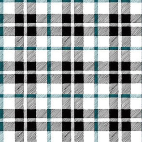 fall plaid teal/black/white