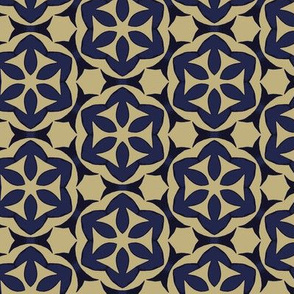 Blue and Tan Flowers Geometric