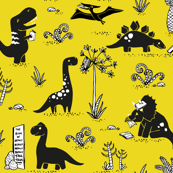 Library Dinos - Black on Yellow
