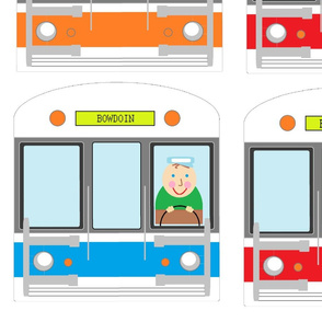 "MBTA subway cars for ""T"" tea towel sized for fat quarter"
