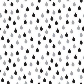 Raindrops (Black White Gray)