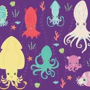 charming cephalopods in purple