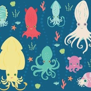 charming cephalopods in ocean blue