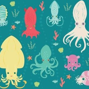 charming cephalopods in teal