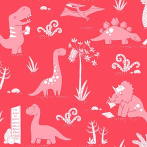 Library Dinos - Pink on Coral