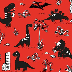 Library Dinos - Black on Red