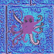 large purple and pink Octopus on aqua