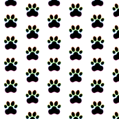 Paw Prints - Black (#000000) on White (#FFFFFF) with Rainbow Outlines