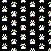 Paw Prints - White (#FFFFFF) on Black (#000000) with Rainbow Outlines