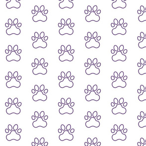 Pawprint Outline Polka dots - 1 inch (2.54cm) - Dark Purple (#5b2b82) on White (#FFFFFF)