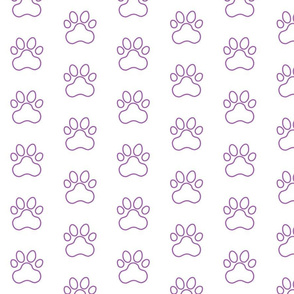 Pawprint Outline Polka dots - 1 inch (2.54cm) - Mid Purple (#a25bb1) on White (#FFFFFF)