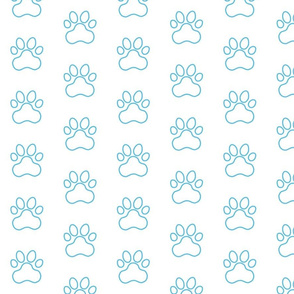 Pawprint Outline Polka dots - 1 inch (2.54cm) - Light Blue (#57bee4) on White (#FFFFFF)