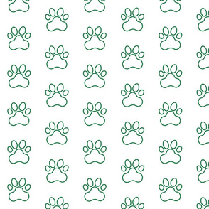 Pawprint Outline Polka dots - 1 inch (2.54cm) - Dark Green (#007934) on White (#FFFFFF)